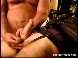 Slave gets some nasty anguish from his master on his cock and balls