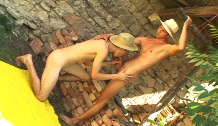Nasty Cowboys Sucking Outdoor