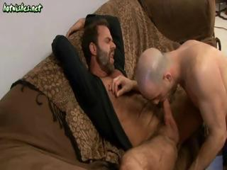 Two horny mature dudes trade some hot cock sucking personify