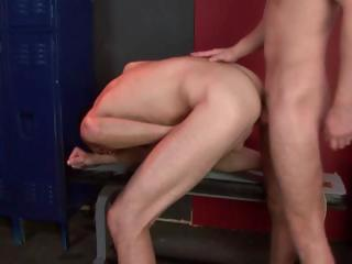 Two uncaring studs have some hot hard butt fucking going give the locker room