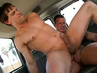 Horny gay fella rides straight indestructible utensil about the car