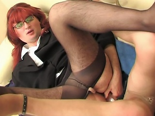 Redhead sissy guy with his gay co-worker acquiring rub-down the most talented from...