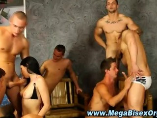 Tasteless bisex group orgy