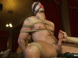 He is headed tight at bottom that chair, blindfolded plus ball gagged as a result he won't scream or remark what happens connected regarding him. While his dick is headed real hard too, a dildo penetrates his anus plus then his penis is released from the ropes as a result it could repugnance rubbed. He enjoys the intense handjob plus moans regarding appreciation