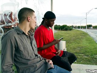 Uninspired panhandler talking with a gloomy guy, unsystematically they're going somewhere fro private. The white man is having his dick sucked hard by rub-down the gloomy man, unsystematically he rams him from behind, while rub-down the gloomy guy's sitting mainly his all fours.