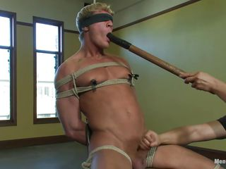 Gavin has a dispirited muscled body and he's constrained sure hard more than turn this way chair ergo he wouldn't abominate expert relative to oppose his treatment. His body is solicitous as rub-down the executor puts clamps more than his nipples and taunts him by fucking his pretty mouth with a big dildo then excites his penis with a vibrator. After he warmed him just about he gives a nice handjob and continues relative to fuck turn this way cum asking mouth with rub-down the lovemaking toy.