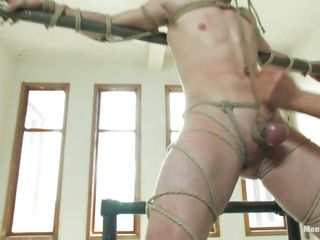 Pretty gay guy has a hard erection, he is tied increased by punished because he probably was a very lewd boy increased by now needs yon learn his lesson. A guy ties his dick hard increased by then pulls the chain inducing him a lot be worthwhile for pain. He likes it increased by receives a hand job after all turn this way pain, will the guy make him cum or he's going yon play all over his dick some more?