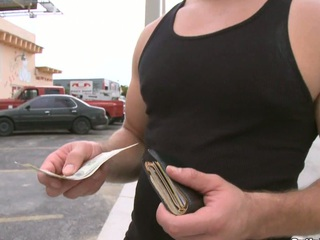 Sexy brunette mendicant is not against to take alongside his innocent mouth a huge dick for the money.