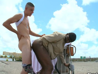 Truly randy white guy fucking his comely dark friend nearby his bore and mouth