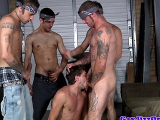 Tattooed gay orgy encircling throatfucked jock