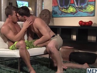 Two studs make out added to fuck with respect to a fancy living room