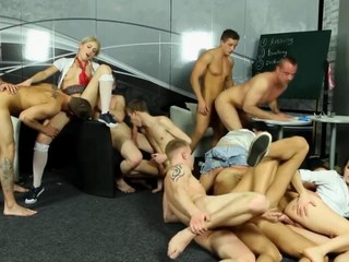 Bi group sluts get licked and fucked off out of one's mind gay dudes